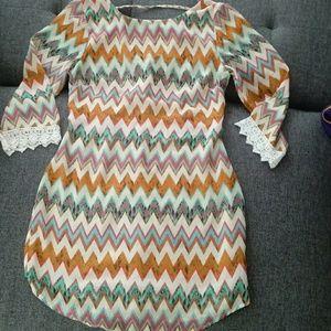 Sheer material zig zag multicolor dress